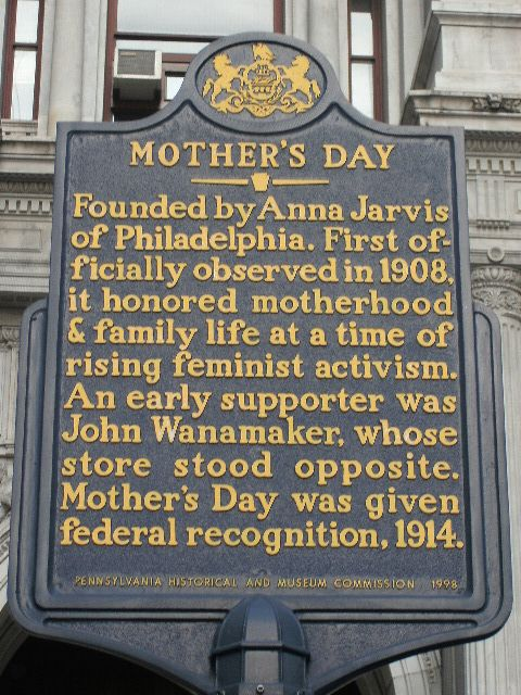 Mother S Day This Marker Is Located On The East Side Of City Hall