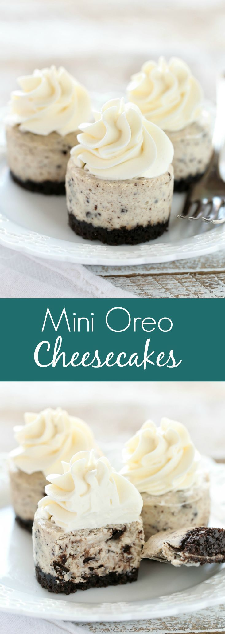 An easy two ingredient Oreo crust topped with a smooth and creamy Oreo cheesecake filling. These Mini Oreo Cheesecakes make a perfect dessert for any time of year! #cheesecakes