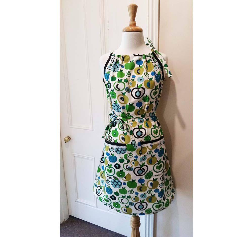 Wedding dresses for fuller figures with sleeves  Women Pillowcase Dress Green Blue Apples Dress Vintage Apple Summer