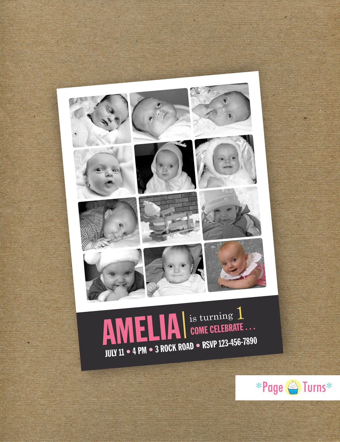 Custom Card / 12 Month First Birthday Photo Collage Birthday ...