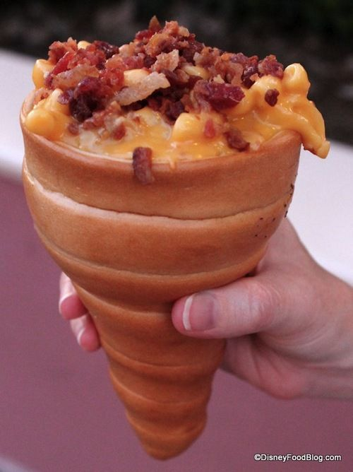 Mac and cheese in a bread cone with bacon on top...YUM?