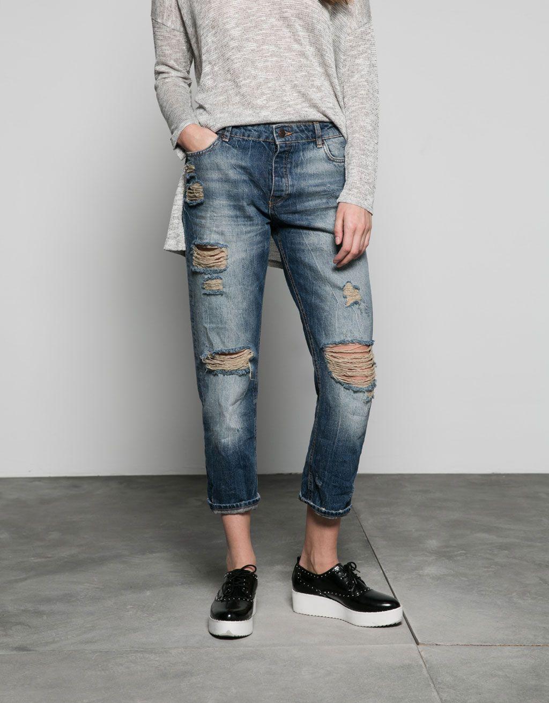Jeans girlfriend detalles rotos - Bershka - Bershka España