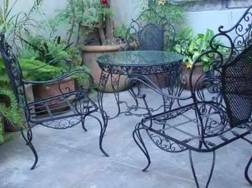Juego de jardin antiguo en hierro forjado 2 sillones y mesa pinteres