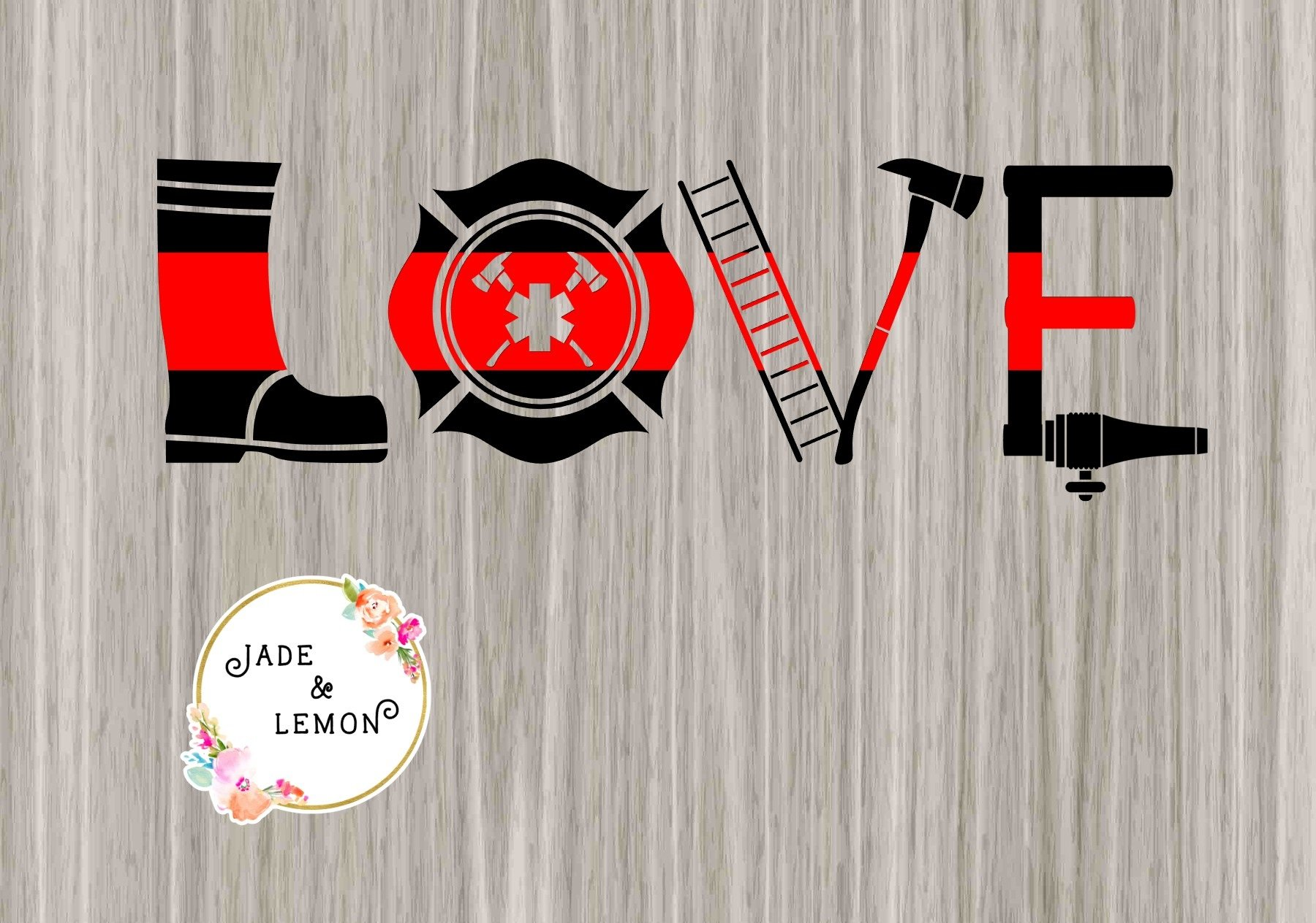 """Download Thin Red Line """"Love"""" Firefighter Decal   Firefighter ..."""