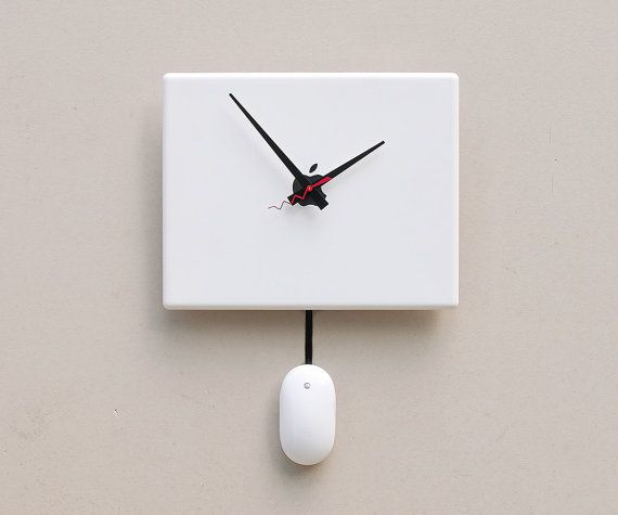 Clock Created From A Recycled Apple Ibook Laptop Cover Contemporary Wall Clock Wall Clock Modern Wall Clock