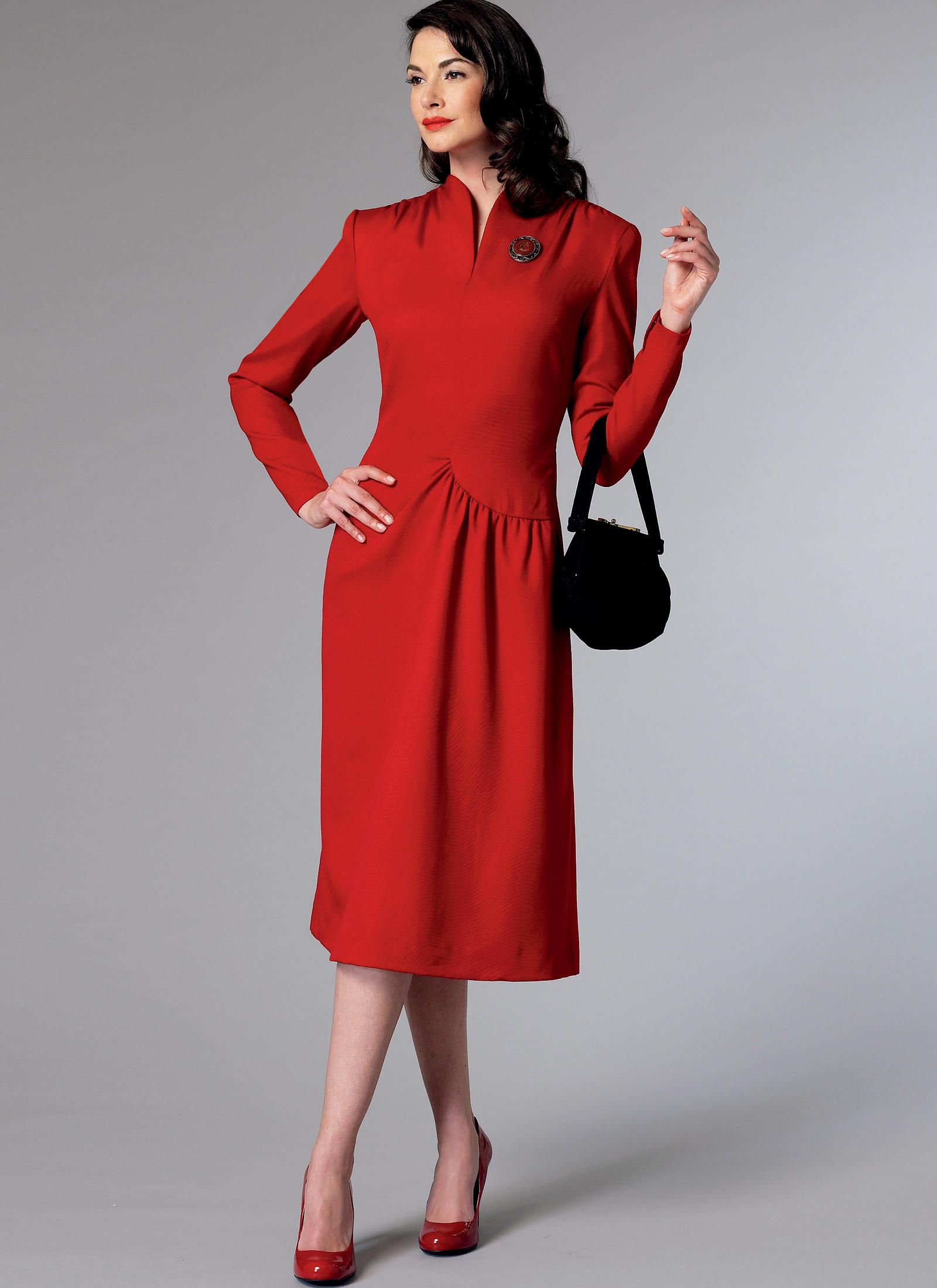 09af71b145dd Butterick Misses' Swan-Neck or Shawl Collar Dresses with Asymmetrical  Gathers 6374
