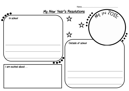 New Year S Resolution Worksheet New Years Resolution Worksheets Newyear