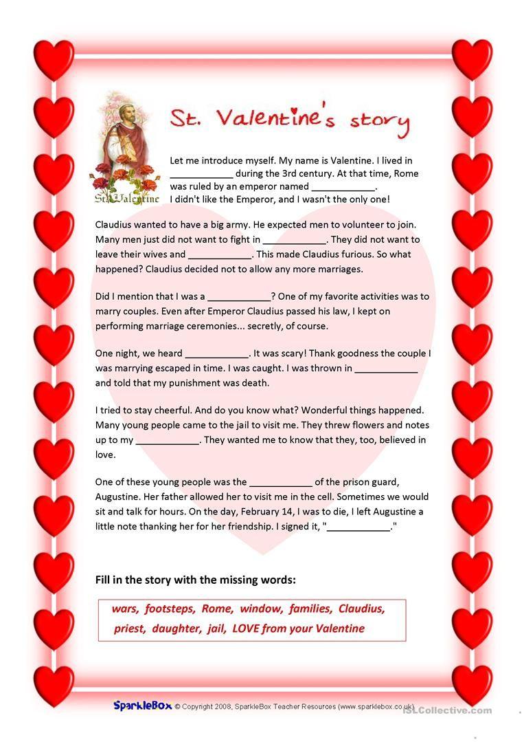 St Valentine S Story And Valentine S Quiz Worksheet Free Esl Printable Worksheets Made By Teachers Valentines Quiz Valentine Reading Valentine Worksheets [ 1079 x 763 Pixel ]