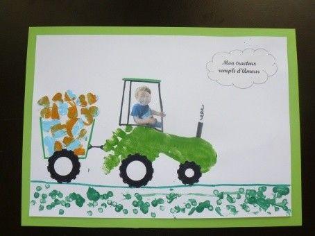 tracteur empreinte pied f te des papas 2017 cadeaux f te anniversaire papa pinterest. Black Bedroom Furniture Sets. Home Design Ideas