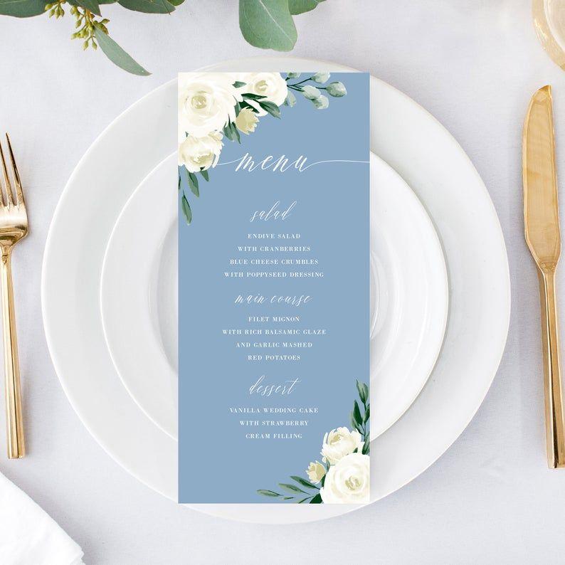 Wedding Menu Template Menu Card Menu Cards Printable Dusty Etsy Wedding Menu Template Menu Cards Menu Card Template