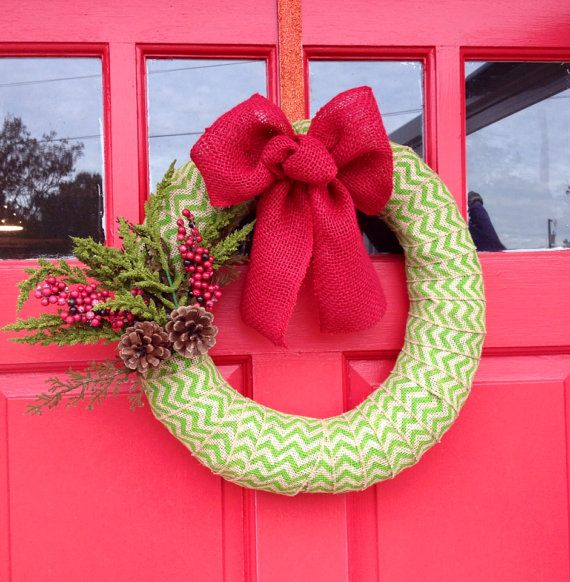 Chevron Christmas Wreath  on Etsy, $30.00