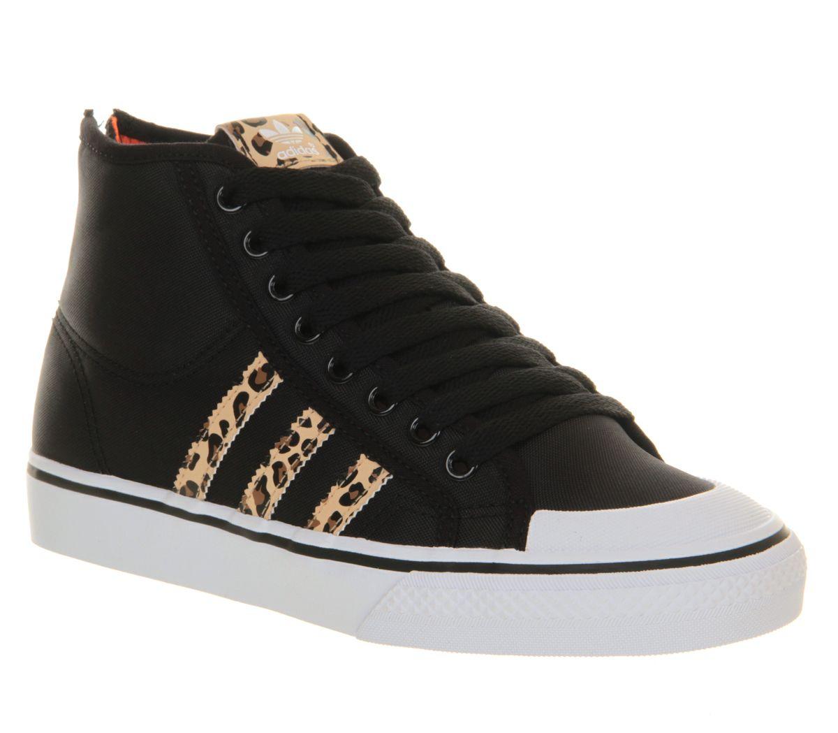 Mens Adidas Nizza Hi Heel Zip Black Orange Leopard Exclusive Trainers Shoes,  Black, http