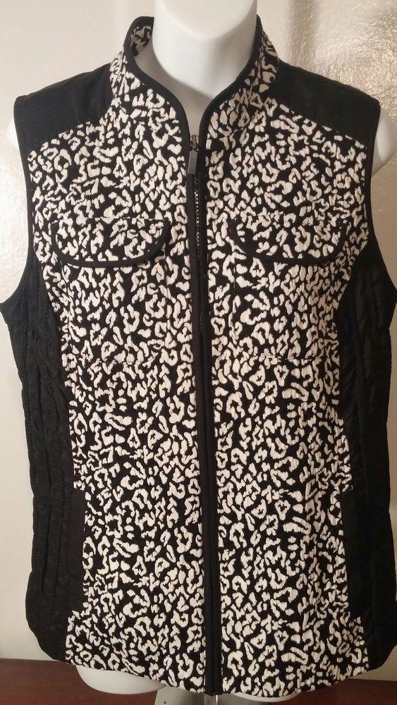 665608f575c3 Chico Plus Size 1 Vest Sleeveless Zip up Black White Women Leopard Jacket    eBay #plussizefashion #plussize #chicos #leopardprint