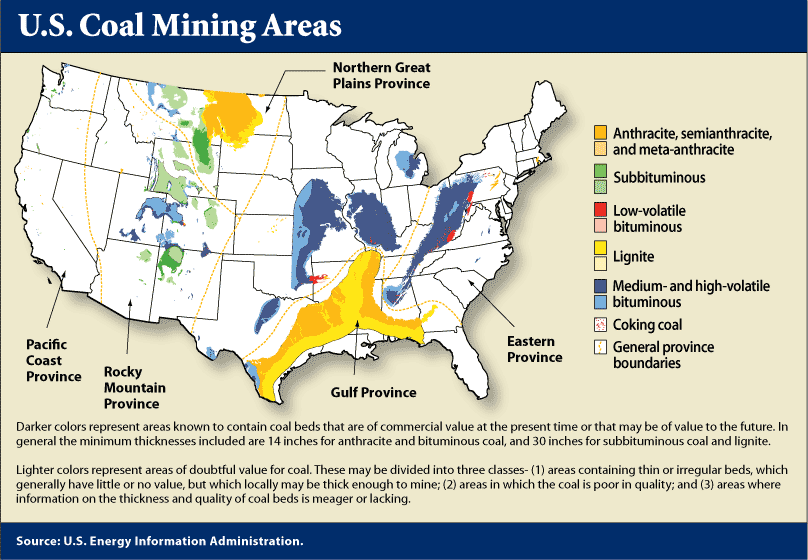 Map Of US Coal Mining Areas Thurber Was One Of The Few - Map Coal Us