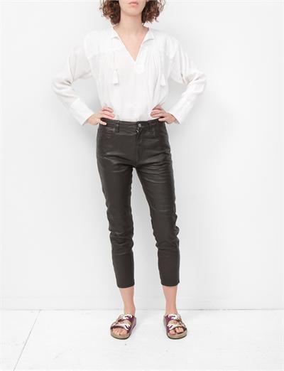 Isabel Marant Etoile Bay Leather Pant- Black