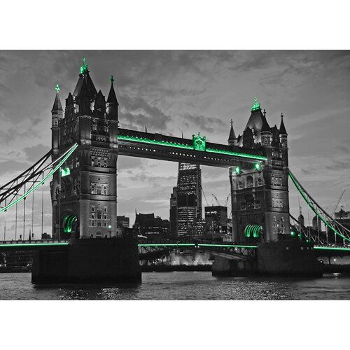 East Urban Home Sign Around the World London Bridge, Green Photo Print Wayfair.de