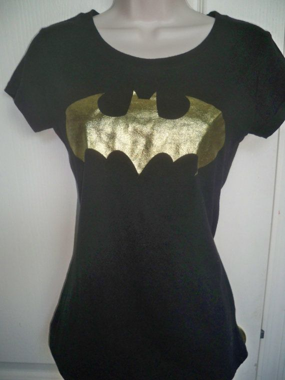 Official NEW LOOK Batman Bat GOLD LOGO TV Ladies Womens Tee TShirt T-Shirt