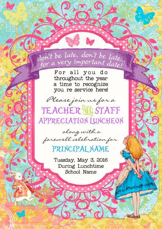 alice in wonderland invitation  alice in wonderland party  teacher appreciation  principal