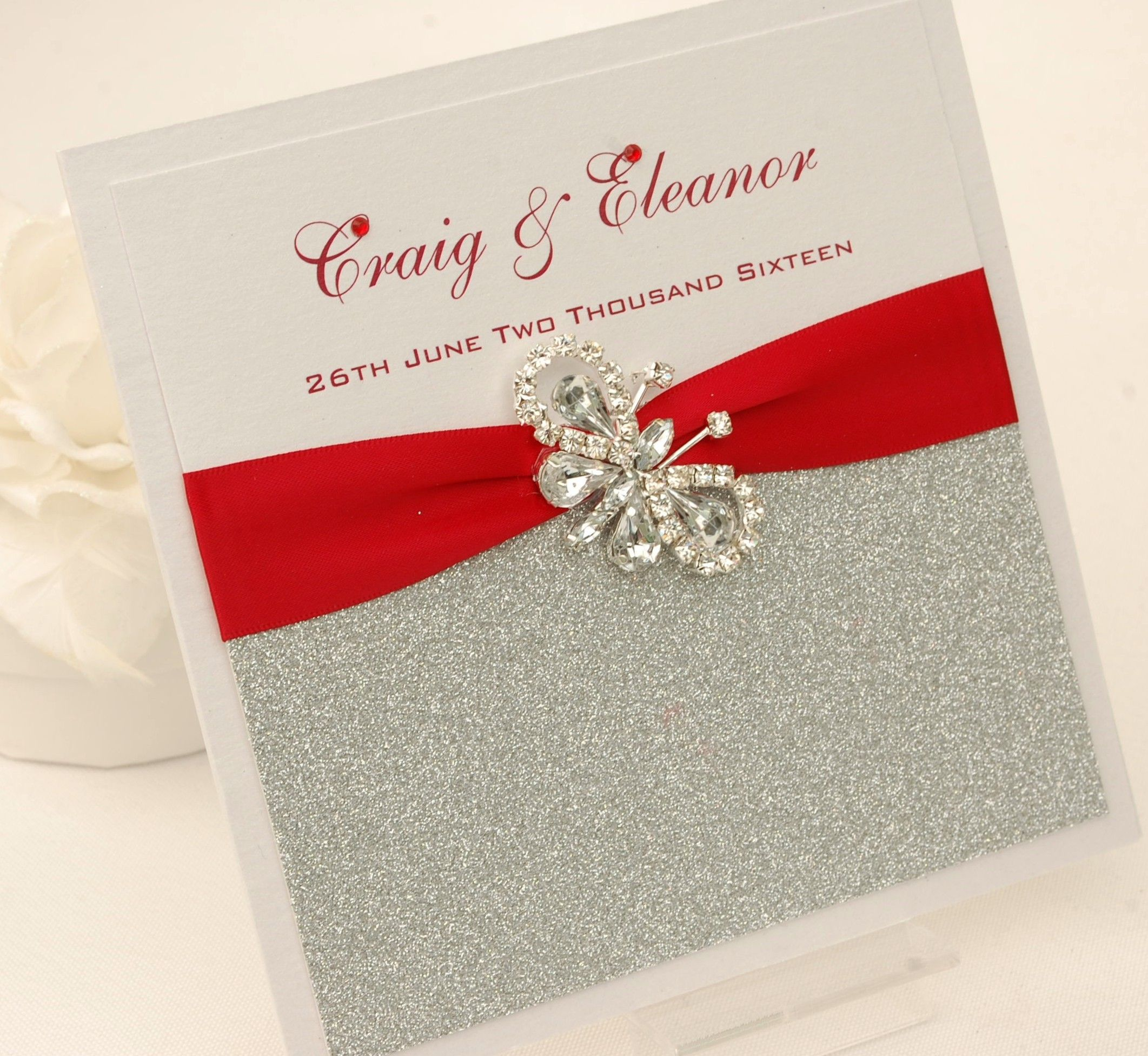 Pocketfold Wedding Invitation. Pearlised layered card, glitter card ...