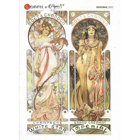 Rice Paper Sheet 16x22 cm Art Nouveau Mucha Moët & Chandon