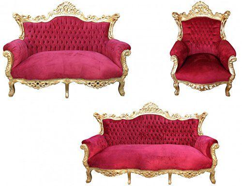 Casa Padrino Barock Wohnzimmer Set Master Bordoaux Rot/ Gold   3er Sofa+2er  Sofa