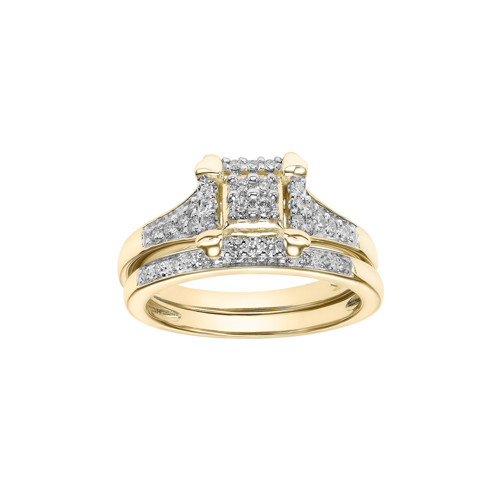 white princess in gold g ring engagement square cut setting halo h vs diamond rings