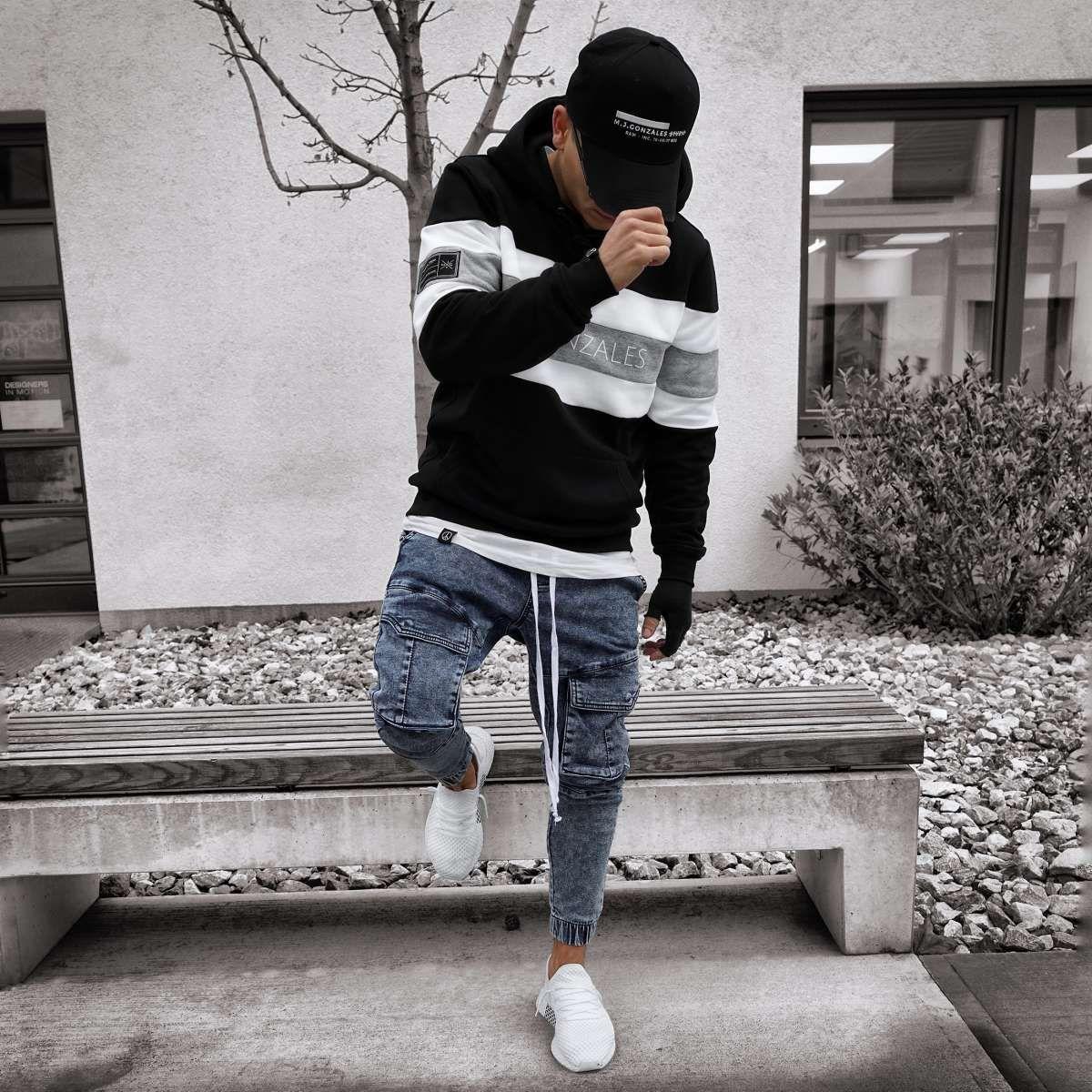 Mjg block stripe hoody ''m.j.gonzales'' blackwhitegrey