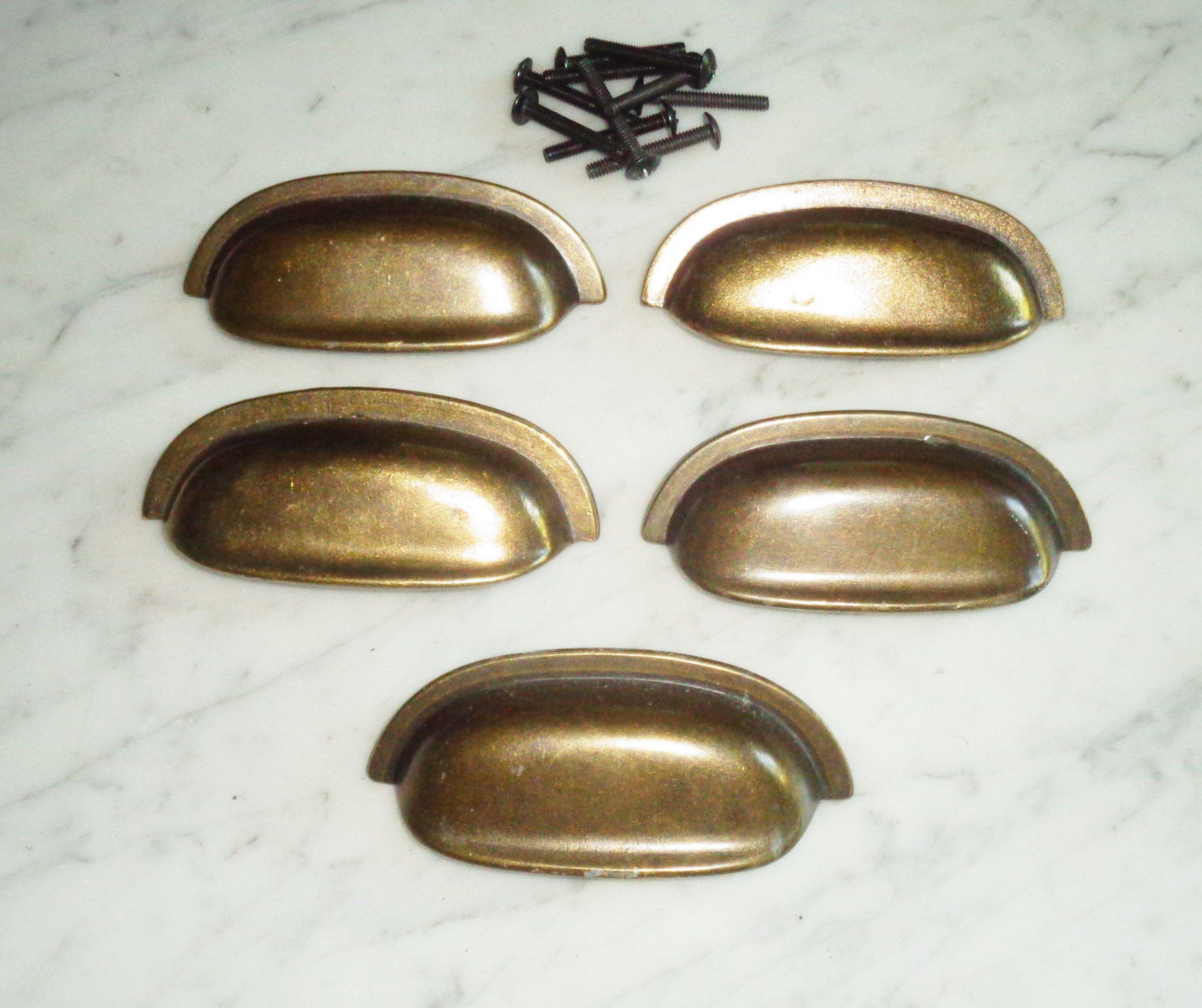 set of 8 Vintage Copper Concave Round Beveled Knob Cabinet Door Pulls Lot 1 12 /& 2 inch
