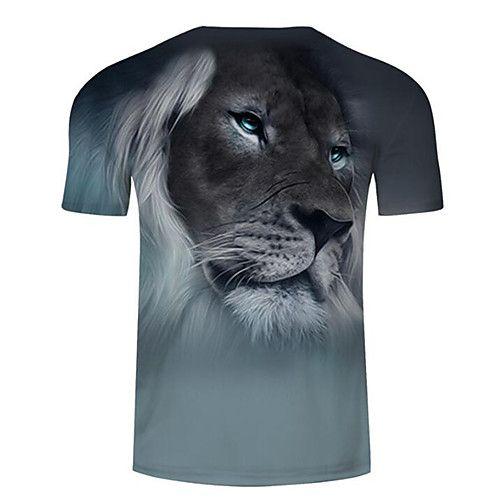 Men S Daily Plus Size T Shirt 3d Animal Print Round Neck Gray