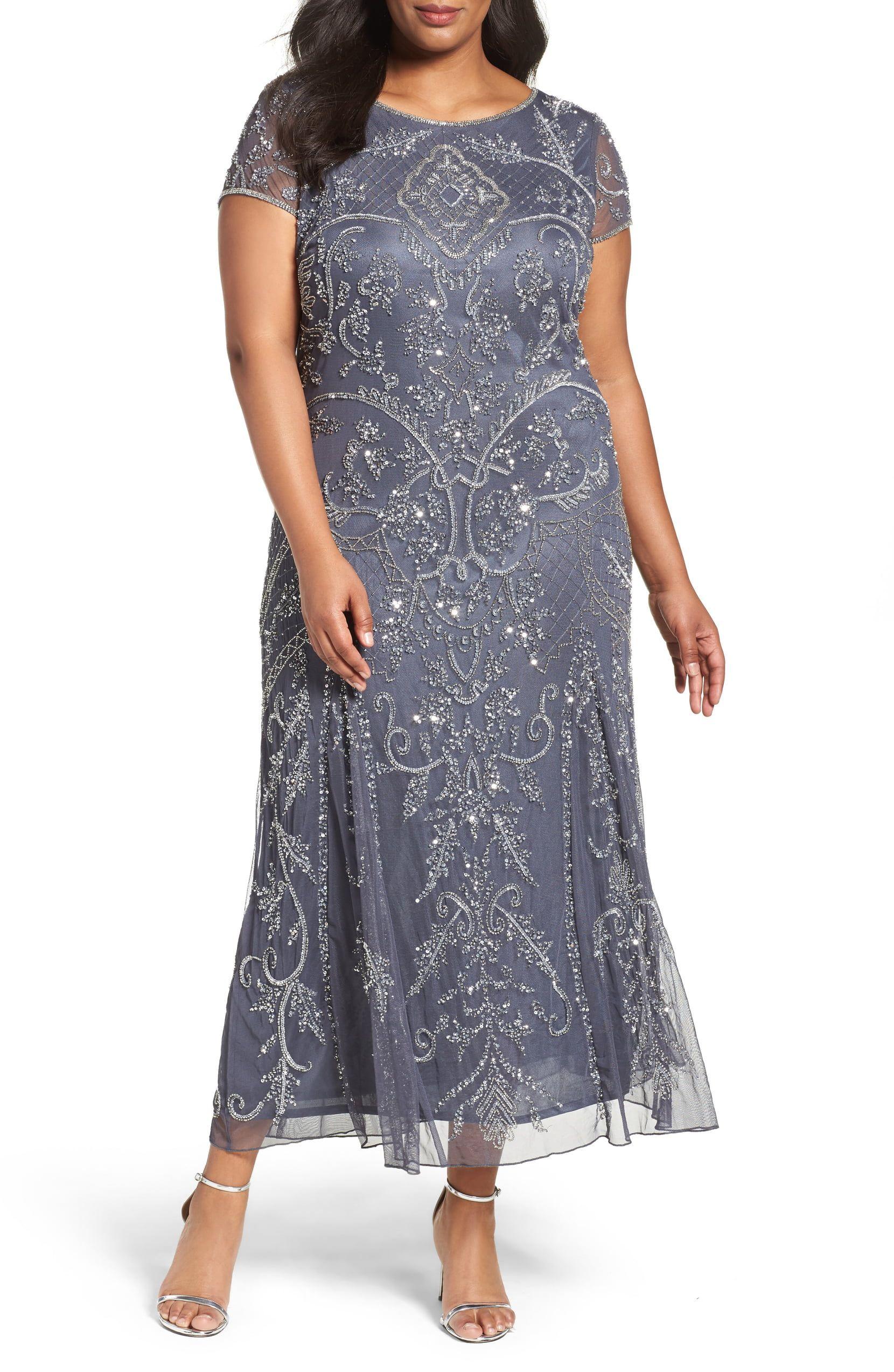 519583f5fa5 Pisarro Nights Beaded Short Sleeve Column Gown (Plus Size ...