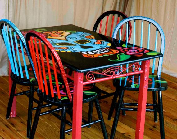 Day Of The Dead Dinette Set Hand Painted Dias By Trashybyalisha