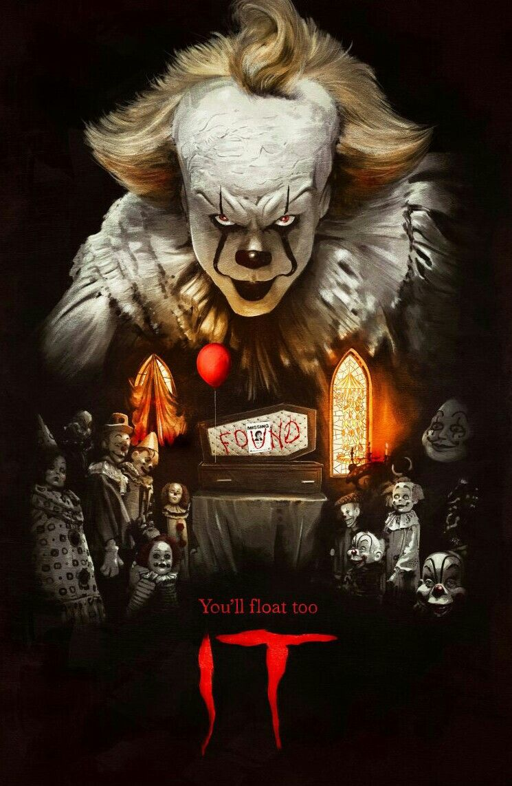 It movie poster clown horror horror posters scary