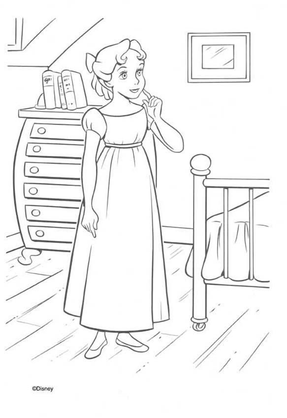 Peter Pan Coloring Pages Wendy In Her House Peter Pan Coloring
