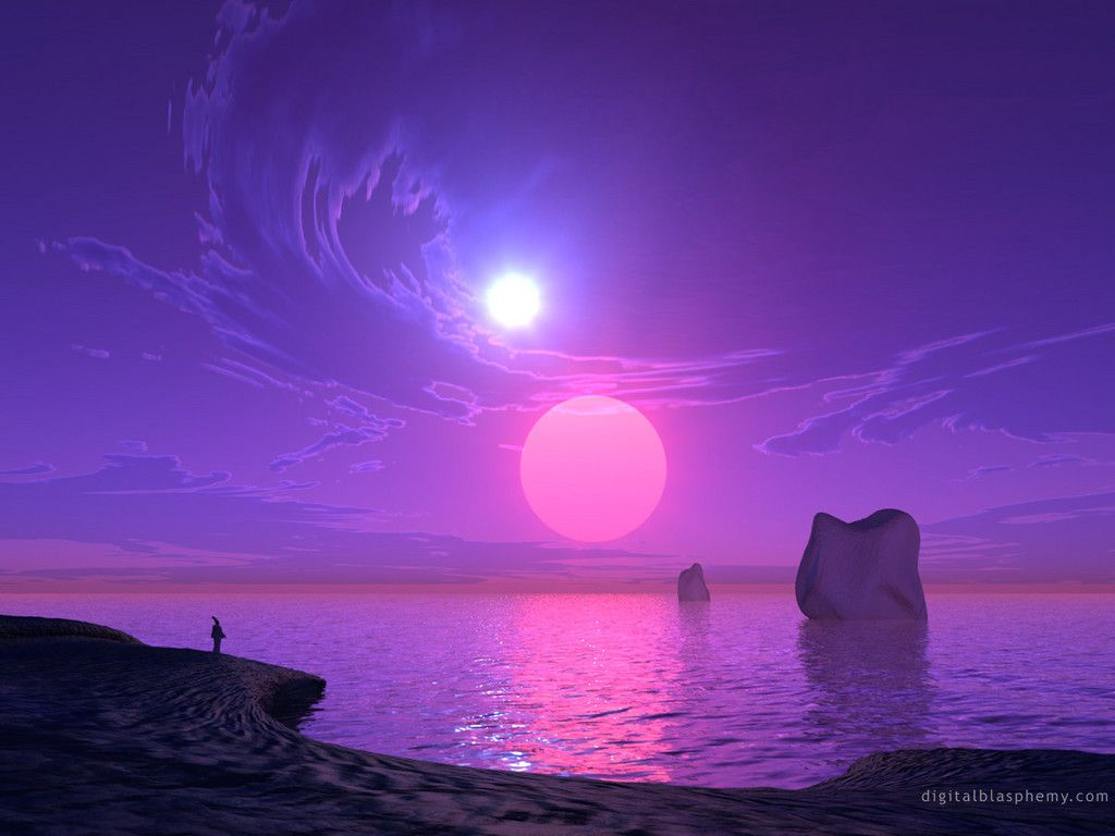 Purple sun set beautiful picture and wallpaper purple - Purple moon wallpaper ...