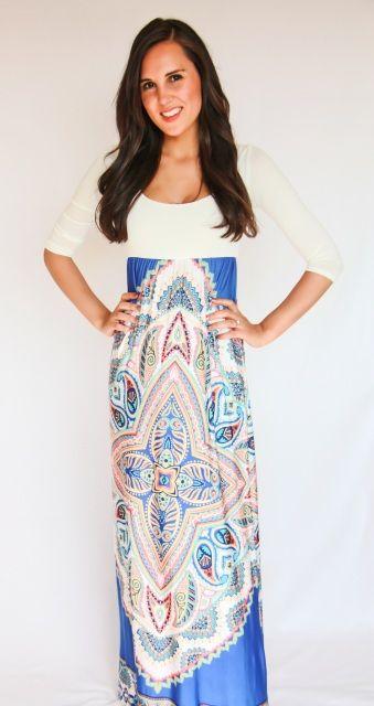 Ethnic Maxi Dress - White - Kevra Boutique*