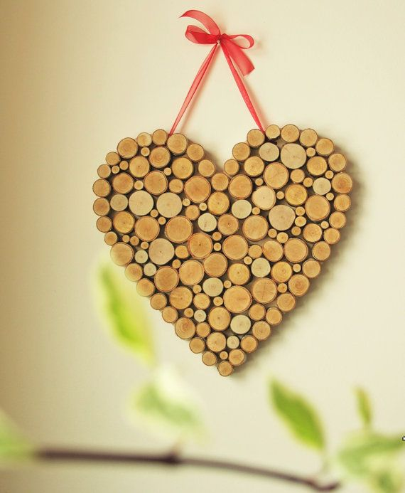Wooden heart of birch tree slices decoration wall hanging decor ...