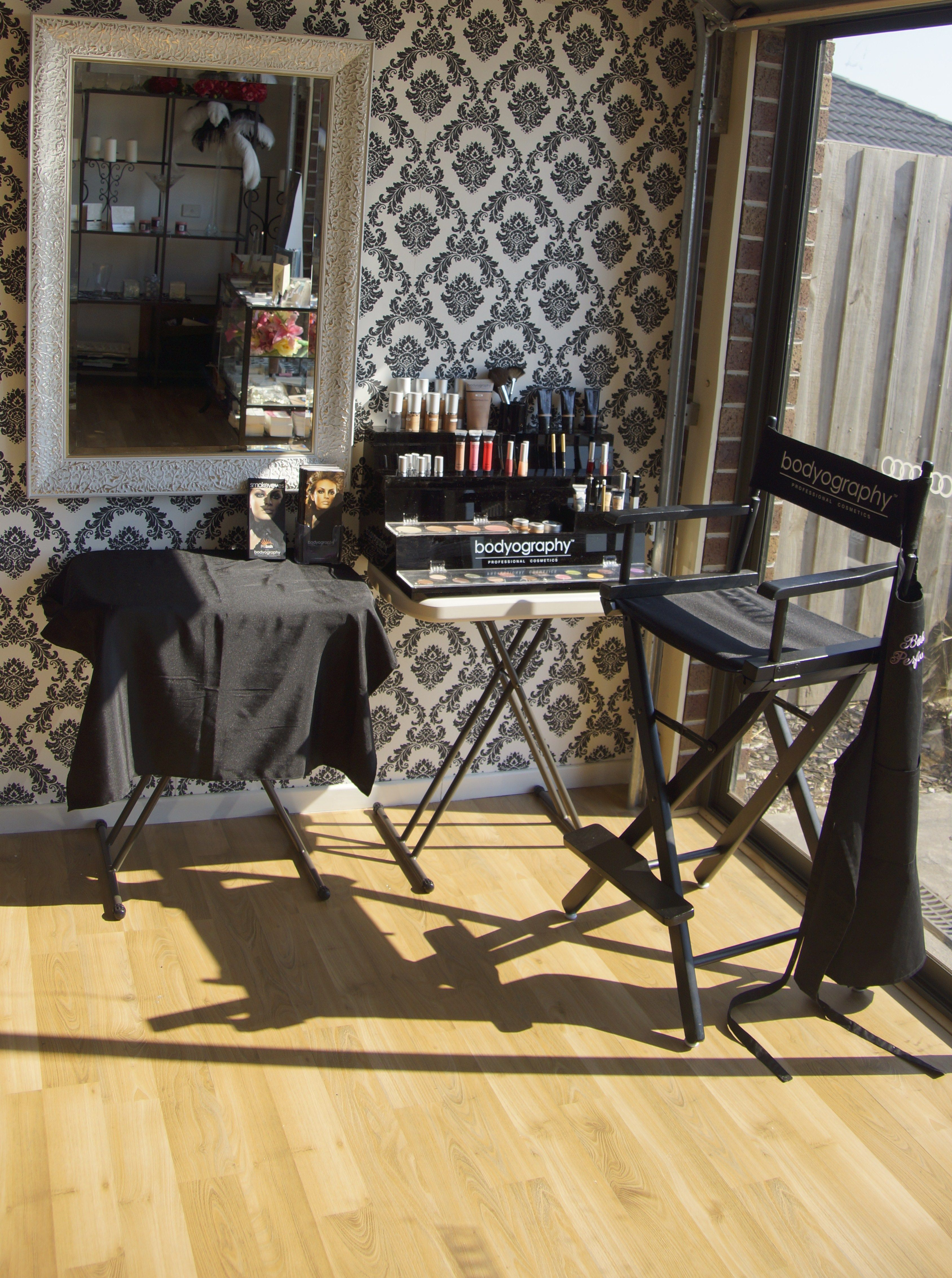 Bodyography Makeup Corner, lots of natural light, Prolash stand, Bridal Perfection Studio, Melbourne