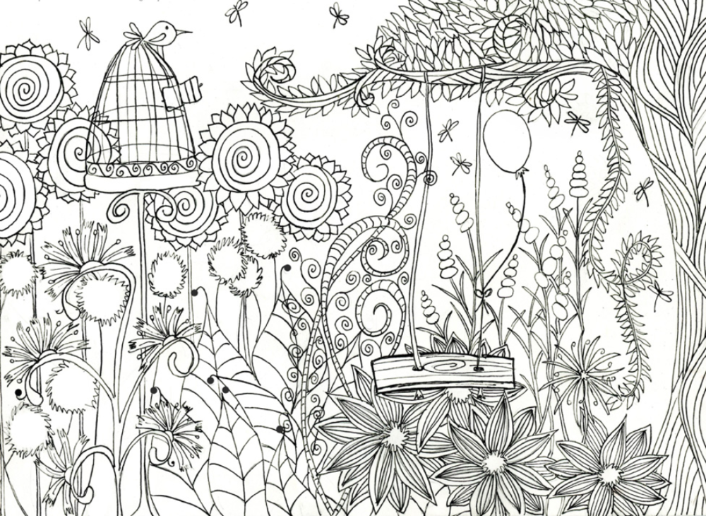 Inspired By Nature S Beauty If So You Need To Print Out This Magical Flower Garden Coloring Pag Garden Coloring Pages Bird Coloring Pages Cute Coloring Pages