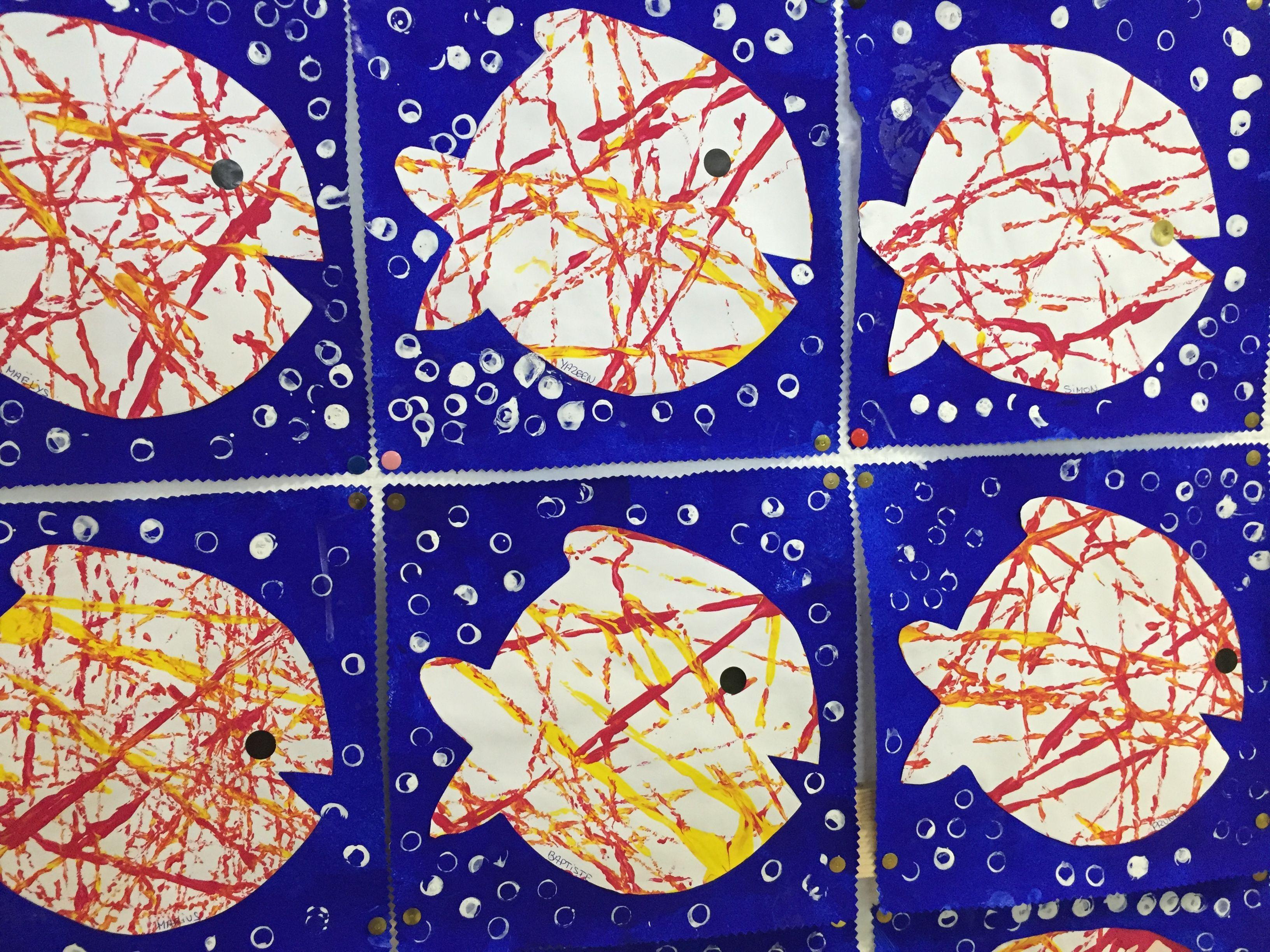 Nos arts plastiques sur la mer ecole maternelle jean mac brest la mer preschool art - Poisson avril maternelle ...