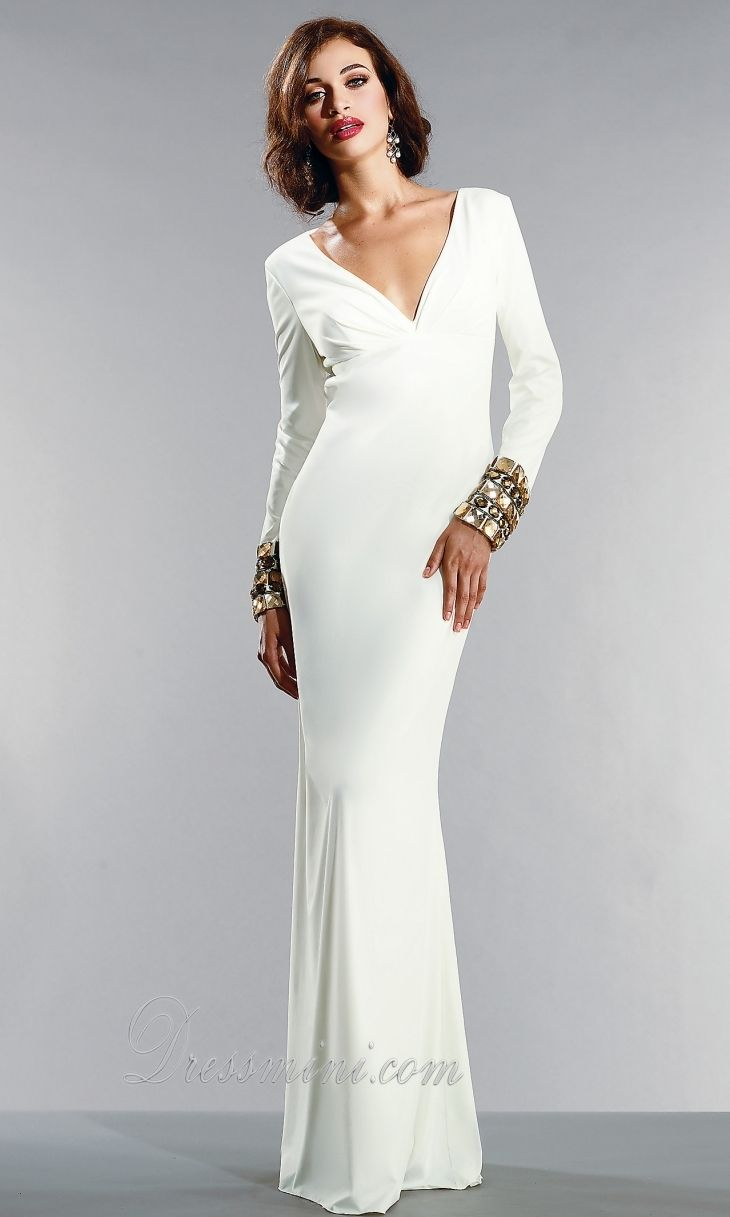 White Dresses For Women With Sleeves Cheap Elegant Evening Dresses ...