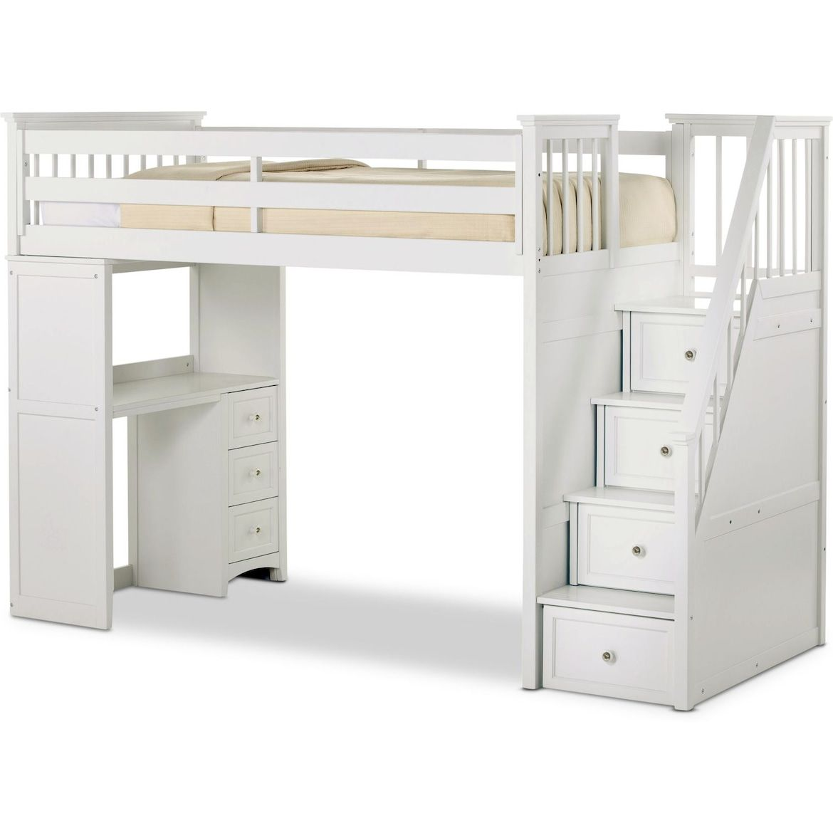 Flynn Loft Bed With Storage Stairs And Desk Value City Furniture And Mattresses Bunk Beds With Stairs White Loft Bed Bunk Bed Designs Loft bed with desk full size mattress