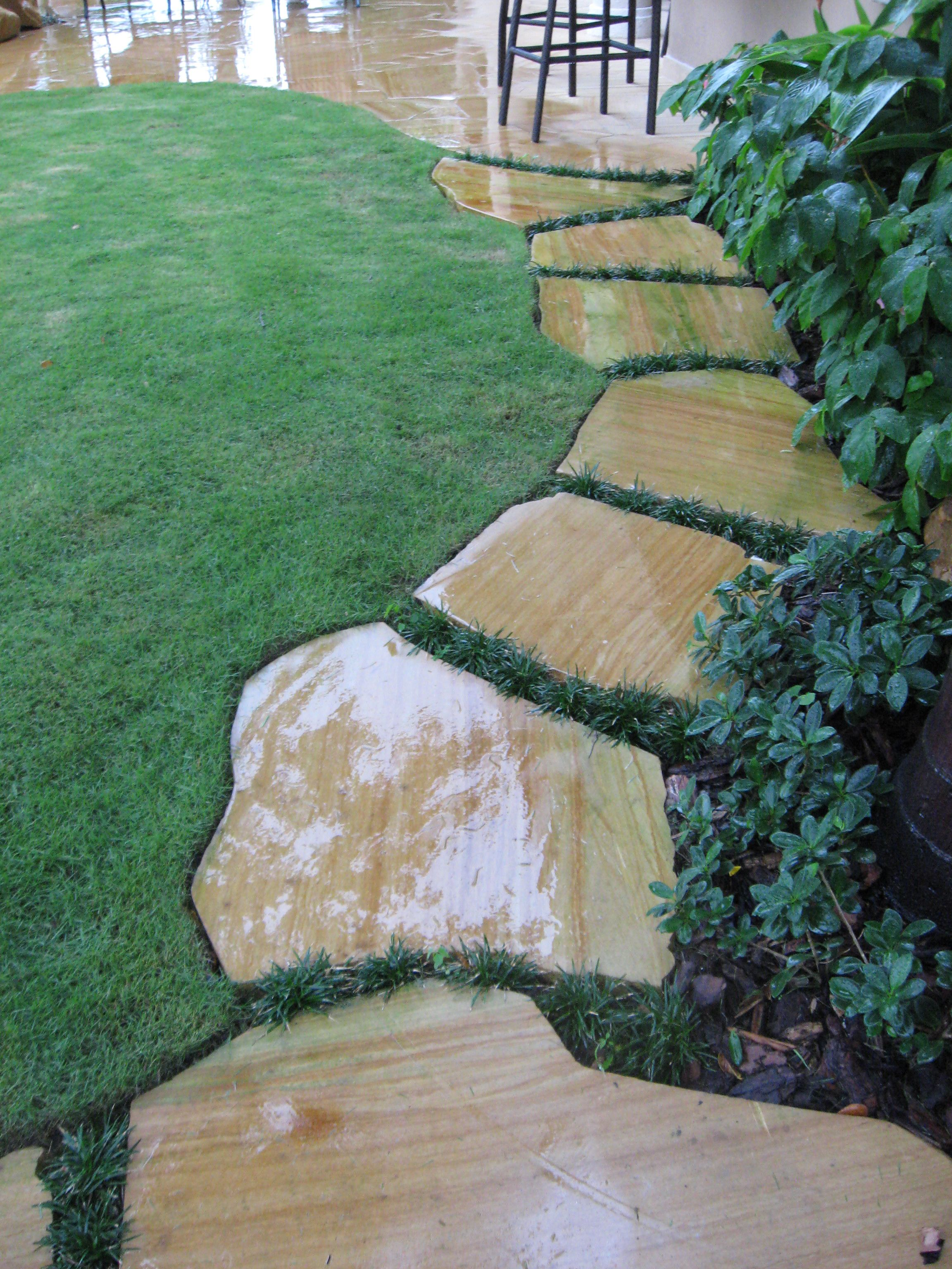 Enchanting Small Garden Landscape Ideas With Stepping Walk: Stepping Stone Walkway By Waterfalls Fountains & Gardens