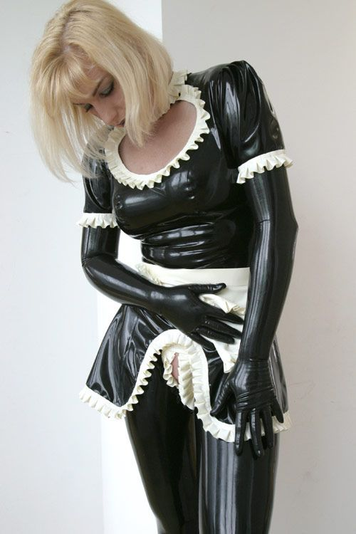 Leather fetish maid hood you