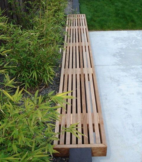 Bambus Garten Sichtschutz Deko Holz Sitzbank Gar Ten