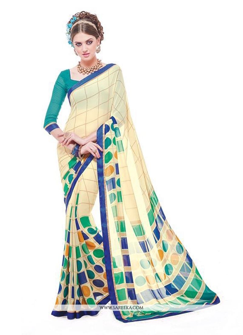 Yellow colour saree images georgette multi colour casual saree  printed sarees  pinterest