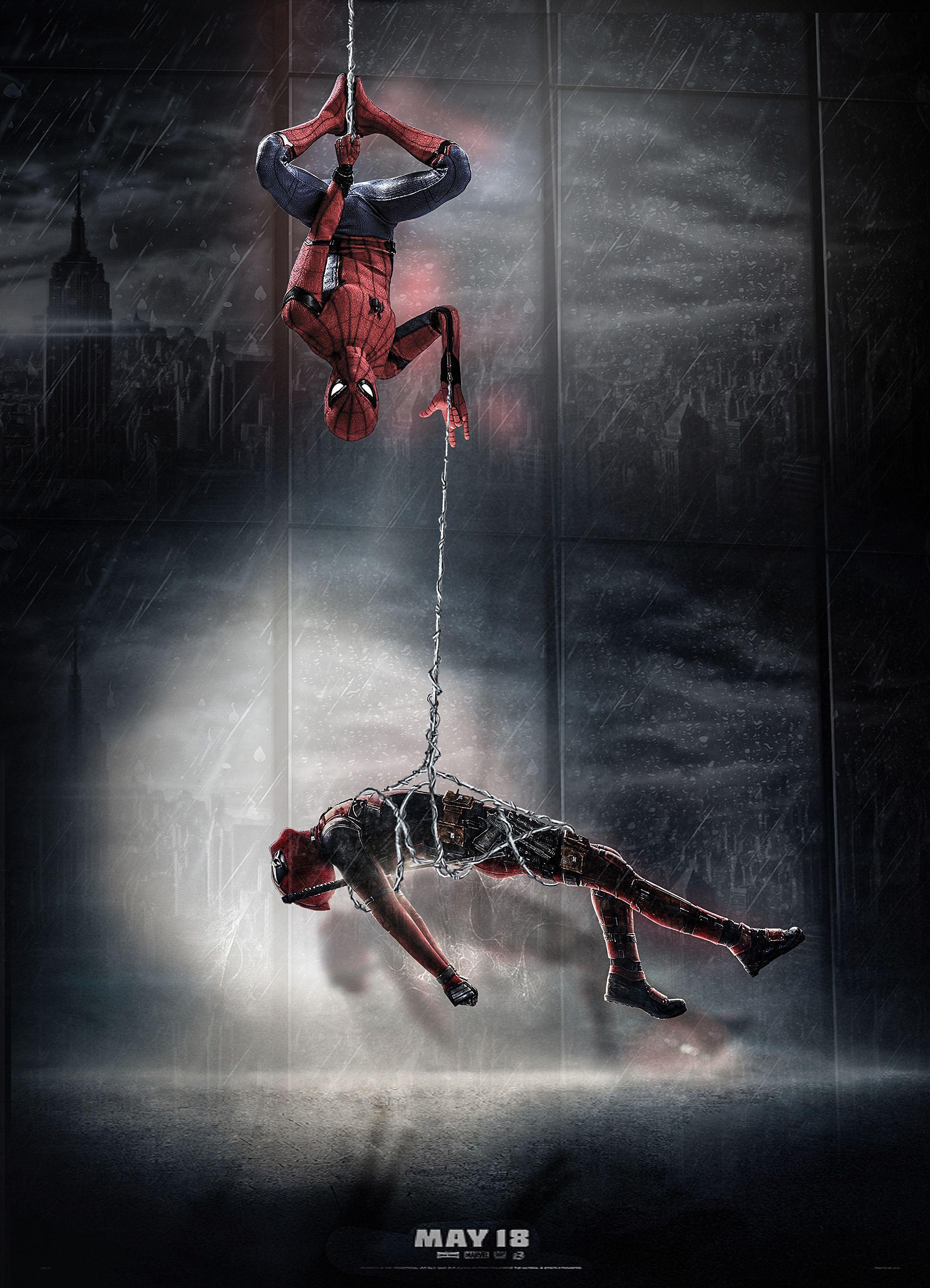 Spiderman Hangingdeadpool Funny Photoshop Visualarts Marvel Wallpaper