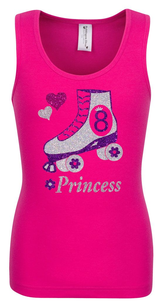 8th Birthday Roller Skate Party Shirt Pink Outfit Bling