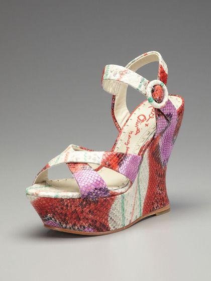 1ddd3fc70fe Alice + Olivia Juliet Painted Snake Wedge Sandal