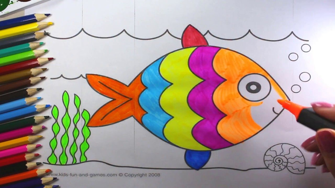 How To Draw A Cute Fish For Kids Fish Coloring Page For Kids Learn Colors Fish Coloring Page Coloring Pages For Kids Cute Fish