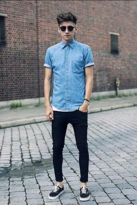 Denim Shirt Vans Authentic Shoes Clothing Mens Fashion Jeans